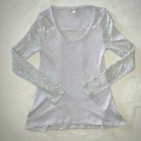 Womens Size L Large Lucky Brand Shirt Top Lightweight Sweater Silver Gray