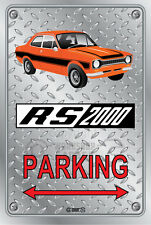 Parking Sign Metal FORD ESCORT MK1 RS2000 2DOOR ORANGE-BLACK - Checkerplate Look