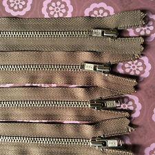 5 x 18 cm BROWN metal  ZIPS zippers YKK (#284)