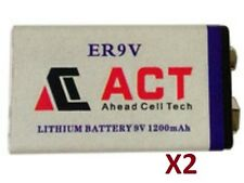 2 Accus Batterie Pile 9V Lithium 1200mAh 6LR61 Battery