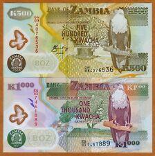 SET Zambia, 500;1000 Kwacha, POLYMER, 2008-2011, P-43-44, UNC