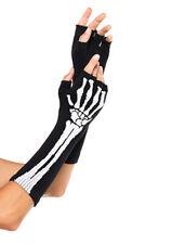 Black Skeleton Fingerless Gloves Halloween Accessories