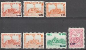 Peru 1976 #C429-35 Surcharged stamps from 1953 and 1966- MNH