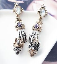 Intricate vintage celtic claddagh inspired crown skull pearl & crystal earrings
