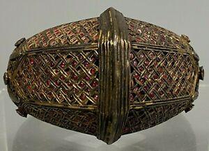 Indonesia Indonesian Brass Wedding Bracelet set w/ Ruby Cabochons ca. 20th c.