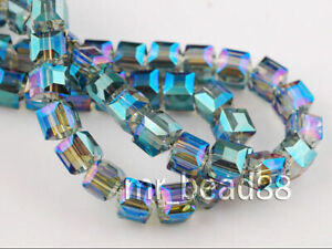 6mm/8mm/10mm Wholesale Charms Glass Crystal Faceted Cube Spacer Bead Findings#Q
