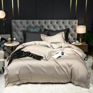 Bedding Set Solid Gray Queen King 4Pcs (1Duvet Cover 1Bed Sheet 2Pillowcases)