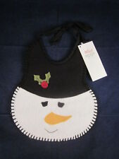 "WOOF & POOF Baby Bib Snowman Face 10"" Christmas ~ NEW with TAG"