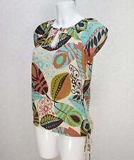 NEXT green brown beige Floral cotton high neck drawstring Top blouse 8 petite