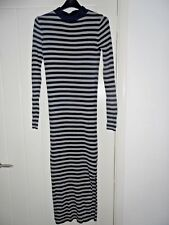 M&S LIMITED EDITION Khaki and Navy Stripe Knit Jumper Midi Dress in Size 8 *BNWT