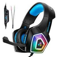Pro 3.5mm Gaming Headset Mic LED Headphones Stereo Surround for PC PS4 Xbox ONE