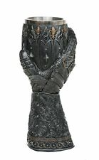 "Pacific Giftware Medieval Knight Lions Heart Gauntlet Style Wine Goblet 9"" H"