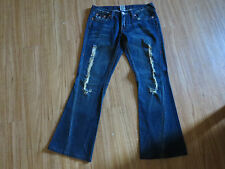 True Religion Size 29 x 30 *503* Distressed Flap pocket Low rise Womens Flare