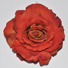 "5"" Deep Red Orange Rose Silk Flower Hair Clip Wedding Autumn"