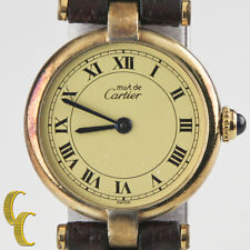 Must de Cartier Vintage Women's Vermeil Quartz Watch w/ Leather Band