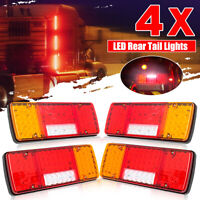 4x SQUARE TRAILER TAIL TAILER LIGHT TURN SIGNAL INDICATOR LIGHTS 92 LED LAMP