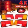 4x SQUARE TRAILER TAIL TAILER LIGHT TURN SIGNAL INDICATOR LIGHTS 92 LED LAMP