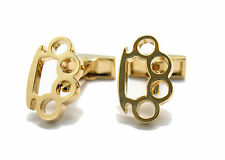 Gold Tone Brass Knuckles Hand to Hand Combat Fighter Cufflinks Cuff Links A1422