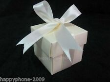 100x Beige 2pc 5x5x5cm Bomboniere Wedding Favor Boxes Candy gift boxes WB21