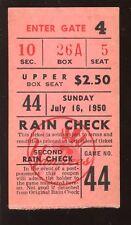 July 16 1950 New York Yankees Baseball Ticket Stub