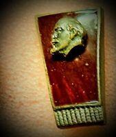 Lenin Rare Pinback Button Lapel Pin Soviet Communist Leader Collectible Politics