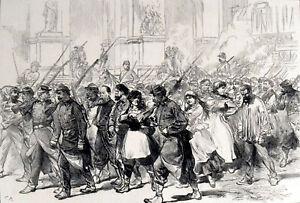 COMMUNIST PRISONERS LED THROUGH THE PLACE DE L'OPERA, PARIS 1871 ENGRAVING