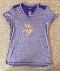 Minnesota Vikings Womens V Neck Medium M Gray Purple Majestic Fab Fashion NWT