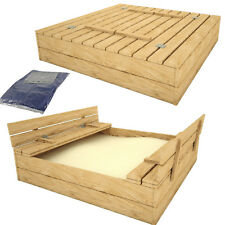 Sandkasten mit Deckel SITZBÄNKEN Sandbox Sandkiste 120x120CM Holz