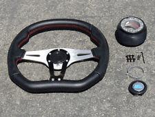 Black/Red Stitch Race Steering Wheel+Hub 90-93 Integra