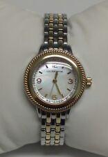 B035 Jcpennys Liz Claiborne Watch silver/gold tone rhinestone accents pearl face