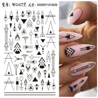 Nail Art Geometry Wraps, Geometry Nail Sticker Sliders for manicure