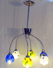 "Beautiful 6 light Flex Ceiling Lamp with 4"" Murano glass shades with Millefiori"