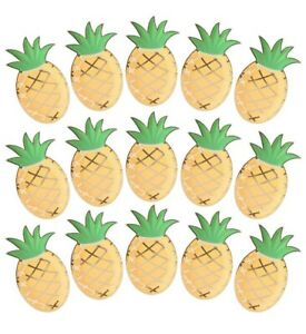 24 Pack Green & Shiny Gold Foil Pineapple Paper Plates Birthday Luau Beach Party