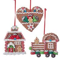 Kurt Adler Gingerbread Cookies Heart House and Train Holiday Ornaments Set of 3