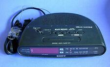 Vintage Sony Dream Machine Clock Radio AM FM Dual Alarm ICF-C390 Black