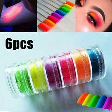 6 Colors Neon Nail Art Pigment Powder Glitter Eyeshadow Cosmetic Makeup Tool Set