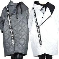 Damen Mantel Winter Übergang Jacke Kapuze Ballon Gesteppt 46 48 50 52 54 56 XL
