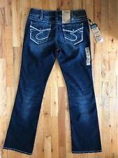 SILVER JEANS Women's Suki Mid Slim Boot Flap Pocket Blue Denim Size W 34 / L 33