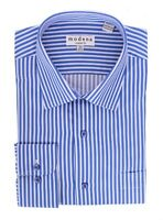 Mens Classic Fit French Blue Striped Spread Collar Cotton Dress Shirt