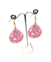 Laser Cut Wooden Flower Earrings – Pink  / Ladies Wooden Earrings / Wooden Gift