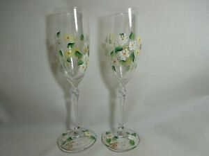 Hand Painted Bride And Groom Champagne Glasses Set of 2