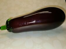 Hand Blown Art Glass Purple Eggplant With Green Stem End Realistic Vegetable