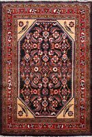 Navy Blue Traditional Floral Hamedan Area Rug Hand-Knotted Foyer Carpet Wool 4x5