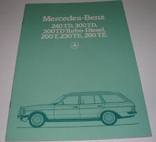 Prospekt Mercedes T-Modell 240 300 TD 200 T 230 280 TE Turbo Diesel W 123 1983!