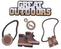 Hiking GREAT OUTDOORS Title Boots Compass Canteen Binoculars 5pc Die Cuts SALE