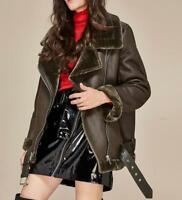 womens Aviator Leather Coat Jacket Winter Suede  jacket thick coat outwear