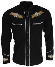 Men's Cowboy Western Black Skull Long Sleeve Rockabilly Line Dancing Shirt