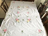 VINTAGE HAND EMBROIDERED APPLIQUÉ PINK BLUE GREEN WHITE COTTON TABLECLOTH 67X50""