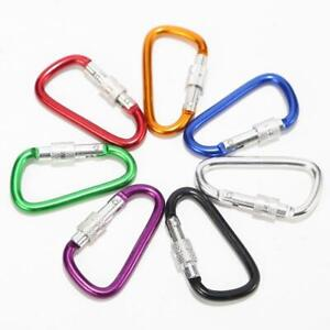 LOCKING MINI D-CLIP HOOKS utility aluminum Carabiner FOR camping/back pack/bikes