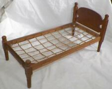 Vintage Wood Wooden Doll Bed Rope Style Furniture